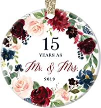 15th Wedding Anniversary 2019 Christmas Ornament Gift Fifteen 15 Years Married Husband Wife Couple Porcelain Tree Decoration Marriage Keepsake Xmas Present Ceramic 3