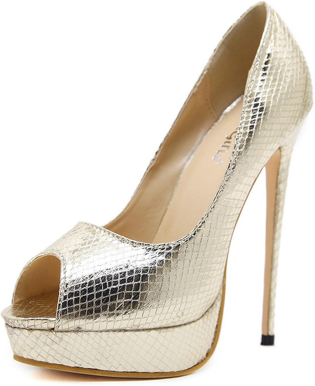 FORTUN Snakeskin Stiletto Platform Platform Toe Sexy Women's high-Heeled Sandals
