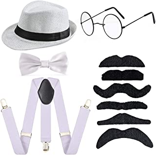 1920s Boys 54cm Fedora Hat Suspenders Bow Tie Set Adjustable Y Back for 2-10 Years Old