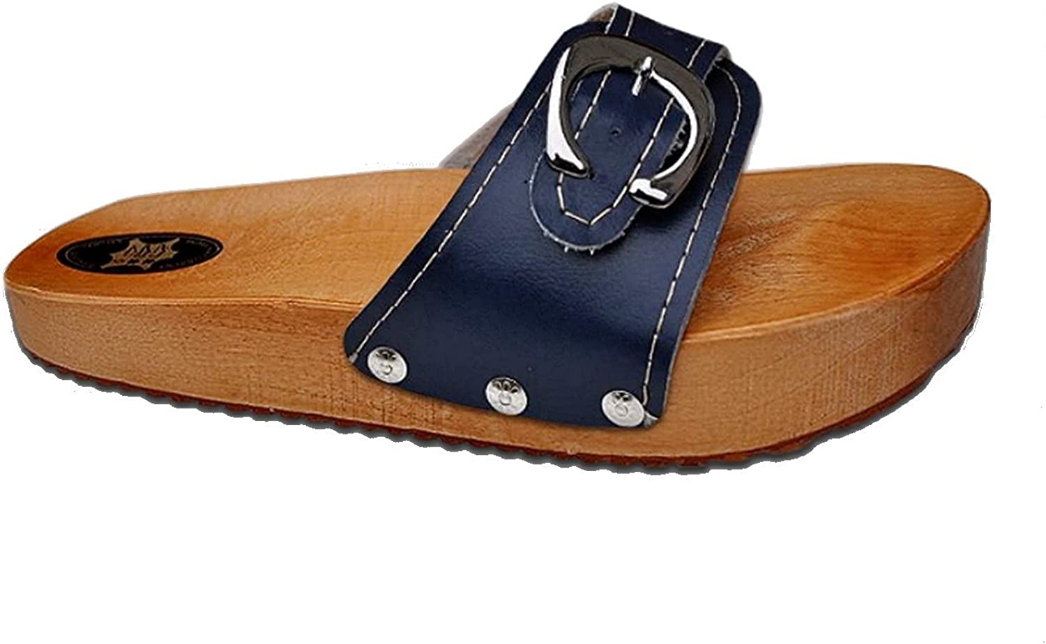 Marited' Navy bluee Anti Cellulite Medical Slimming Sandals Clogs shoes Natural Wood and Leather
