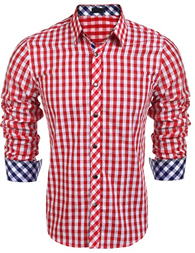 COOFANDY Herren Hemd Kariert Cargohemd Trachtenhemd Baumwolle Freizeit Regular Fit