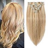 Extension a Clip Cheveux Naturel #12+613 MARRON CLAIR MECHE BLOND CLAIR - Rajout 100% Vrai Cheveux Humain 8 Mèches - Epaisseur Moyenne 33CM (80g)