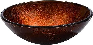 Aquaterior Modern Bathroom Round Artistic Tempered Glass Vessel Vanity Sink Bowl Basin Spa
