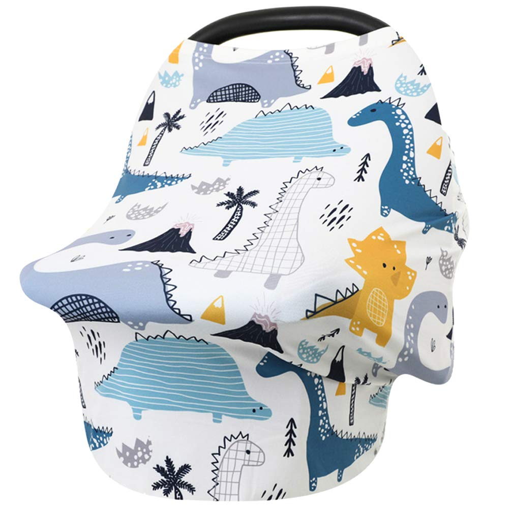 Car Seat Covers for Babies Dinosaur Nursing Cover for Breastfeeding Stretchy Soft Breathable Infant Carseat Canopy Breastfeeding Cover Multi-Use High Chair Cover Baby Shower Gifts