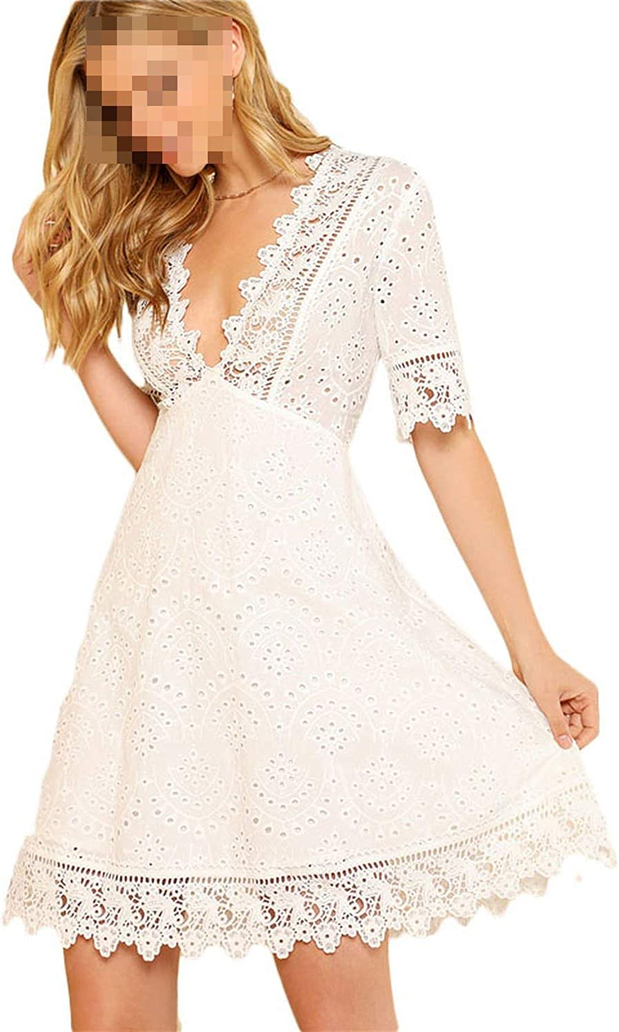 Betterluse Lace Trim Eyelet Embroidered Dress Women White Deep V Neck Half Sleeve Cut Out Plain Dress 2019 Summer Sexy Cotton Dress,White,S