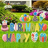 Happy Birthday Lawn Signs with Stakes - Outdoor Birthday Sign Set of 11 Pieces - Happy Birthday Letters and 6 Bonus Shapes (Cake, Gift Box, Fireworks, Balloons, Confetti & Party Hat)