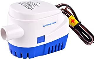 IUMÉ Boat Bilge Water Pump, Generic Automatic Submersible 12v 1100gph DC All-in-one Marine Bilge Auto Yacht with Float Switch Current 3.8A White & Blue