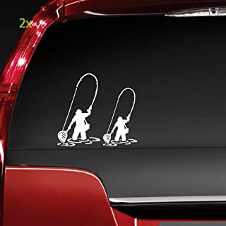 Boilipoint (2Pcs) Car Window Decal Laptop Truck Outdoor Sticker for Fly Fishing Fisherman Trout Fish Vinyl Funny Sticker C...