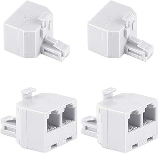 Uvital RJ11 Duplex Wall Jack Adapter Dual Phone Line Splitter Wall Jack Plug 1 to 2 Modular Converter Adapter for Office H...