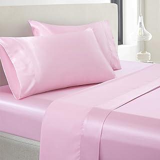 Vonty Satin Sheets Full Size Silky Soft Satin Bed Sheets Pink Satin Sheet Set, 1 Deep..