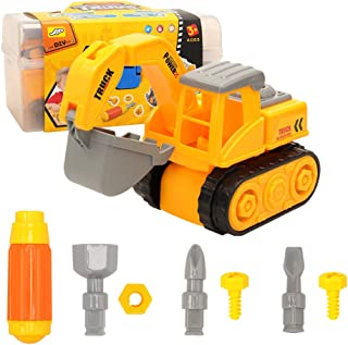 Barwa DIY Take Apart Toys for toddlers Assembly Toy Excavator with Constructions Set, Building Vehicle Truck Play Set with...