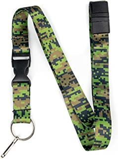 Limeloot Woodland Digital Camo Premium Lanyard with Breakaway, Release Buckle, and Flat Ring.