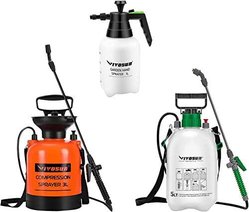 new arrival VIVOSUN 1.3 Gallon Garden Sprayer, with 0.8 Gallon Sprayer and new arrival 34oz Handheld Garden online Sprayer, Pressure Relief Value sale