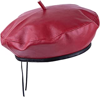 Samtree Classic French Beret Hat for Women, Adjustable Solid Color PU Leather Artist Painter Cap