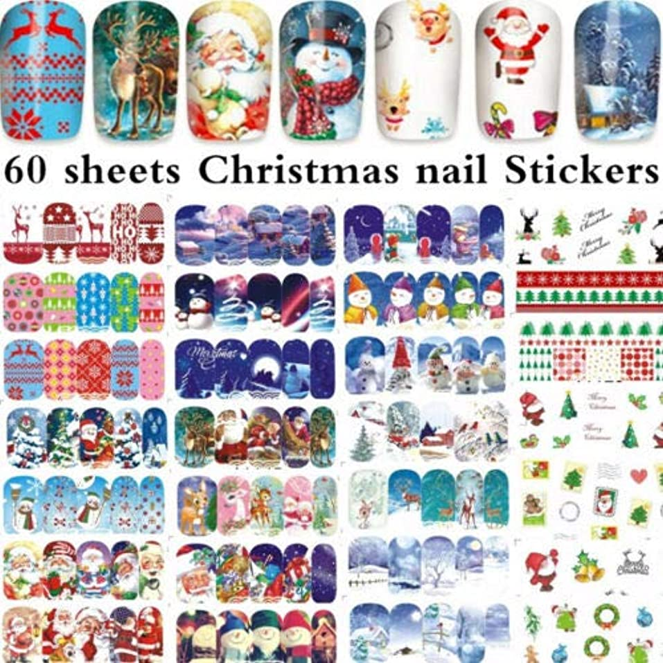 ヘッドレス自動的にクリエイティブFidgetGear 60枚のクリスマスサンタクロースネイルアート水転写ステッカーのヒントA1129-88#