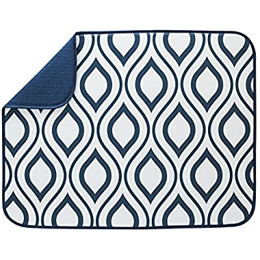S&T XL Microfiber Dish Drying Mat, 18  x 24 , White/Navy Trellis