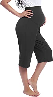 Joyaria Women's Maternity Over The Belly Capri Pant Pregnancy Lounge/Pajama/Sleep/Yoga Trousers