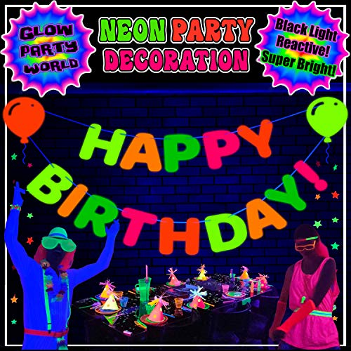 Neon Birthday Decorations. Happy Birthday Banner! UV Reactive glow in the dark balloon cutouts. Happy Birthday Sign Black Light Party Supply. Glow Party Supplies Birthday décor Hanging Garland Letters