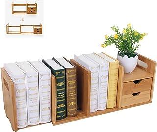 Desktop Bookshelf, Bamboo Wood Plate Extendable Storage Shelf with 2 Drawers, Desk Storage Organizer Display Rack for Offi...