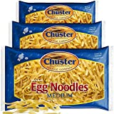 ChusterNoodle Egg Noodles (Fettucine Short) Chuster Extra Wide Egg Noodles | Enriched Medium Size Noodle Pasta for Soup, Ramen, Stroganoff, Stir Fry Lo Mein & Other Asian Fare