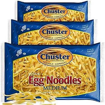 ChusterNoodle Fettucine Short Egg Noodles | 3 Pack of Wide Enriched Medium Size Noodle Pasta for Soup Ramen Stroganoff Stir Fry Lo Mein & Other Asian Fare | Low Sodium Kosher Pareve Pappardelle