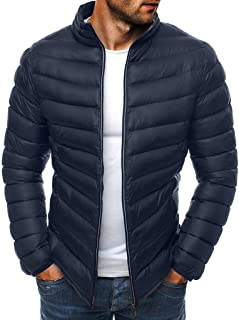 Men Parka Jacket Quilted Down Coat Zip Puffer Sherpa Jacket Solid Outwear