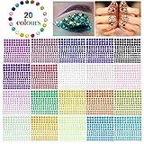 Phogary Pegatinas autoadhesivas de diamantes de imitación, 3300 piezas, en 4 tamaños, 20 colores,...