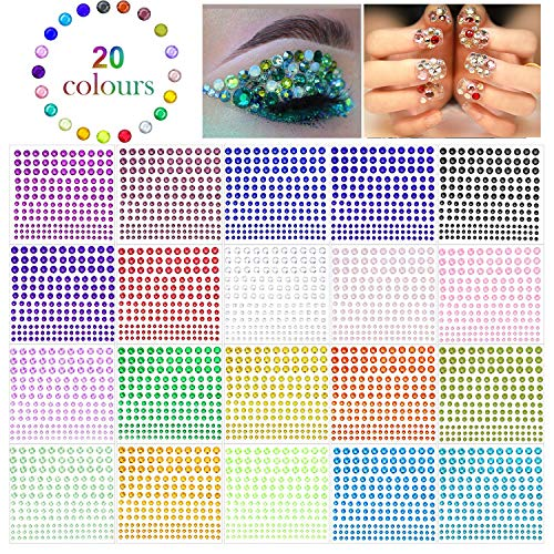 Phogary 3300 pegatinas autoadhesivas de diamantes de imitación de cristal en 4 tamaños, 20 colores, para manualidades, cuerpo, bricolaje, uñas, festival, carnaval, maquillaje