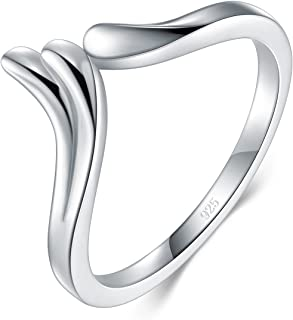BORUO 925 纯银戒指,天使翅膀高抛光*舒适佩戴婚戒 2mm 戒指