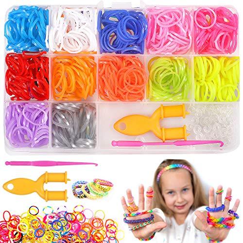 Camelize Loom Bänder Set,600 Stück Rainbow Loombänder für Armbänder,DIY Gummibänder Kinder Basteln,Armband Halskette Strickwerkze,Kinderspielzeug für Geburtstagsgeschenk, Weihnachten