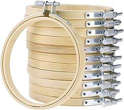 Healifty 12St 7 Inch Borduurring Set Bulk Bamboe Cirkel Kruissteek Hoepel Ronde Ring Verstelbare Haak Cirkel Display Frame...