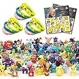 Yisscen Pokemon Monster Mini Figure, Mini Muñecas Pulseras de Silicona Pegatina Set Adecuado para Niños Niñas Decoraciones de Fiesta Pokémon Temática 38Pcs