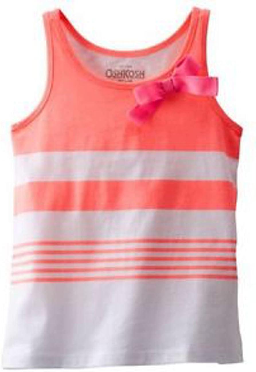 Oshkosh Girl Striped BOW Tank Top; Coral Size 8
