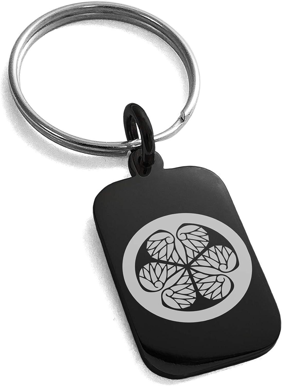Tioneer Stainless Steel Tokugawa Samurai Crest Symbol Small Rectangle Dog Tag Charm Keychain Keyring
