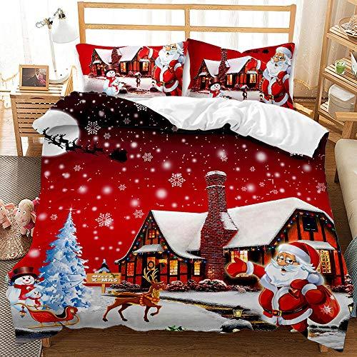 Biancheria da letto XIJIE, copripiumino in microfibra con stampa 3D, federa, Natale, biancheria da letto di Babbo Natale, ragazzo e ragazza, adulto, set di tre pezzi