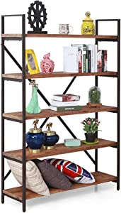 Care Royal Vintage 5 Tier Open Back Storage Bookshelf, Industrial 69.5 inches H Bookcase, Decor Display Shelf, Living Room, Home Office, Real Natural Reclaimed Wood, Sturdy Rustic Brown Metal Frame