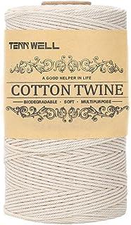 Tenn Well 綿紐, 200M 3本撚り 丈夫たこ糸 手芸 おもちゃ 盆栽 料理などに (ベージュ)