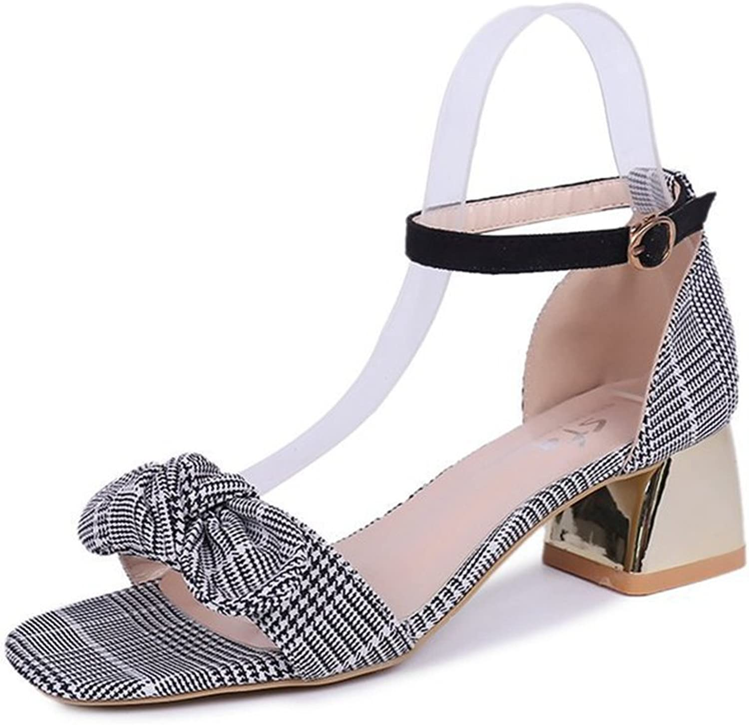 Btrada Womens Fashion Bowknot Heeled Sandals Open Toe Ankle Strap Summer Rome Dress shoes Crude Heel