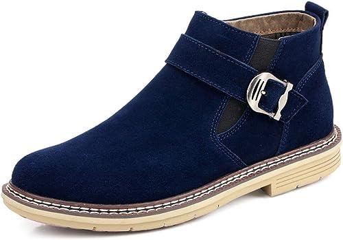YAJIE-bottes, Chaussures de Travail pour Hommes en Daim, Cuir véritable, à Talon Haut, Bottines de Loisirs à Bouts arrondis (Taille Unique) (Couleur   Marine, Taille   45 EU)