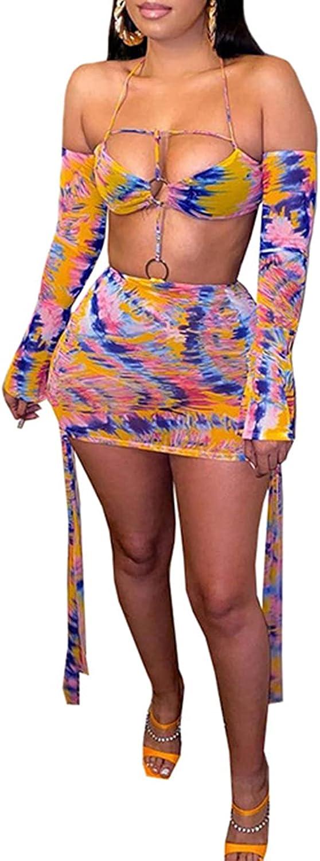 Women's Sexy Printed Bodycon Mini Dress Strap Crop Top+Skirt 2 Piece Clubwear Party Summer Dresses