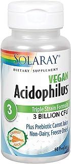 Solaray Acidophilus 3 Strain Probiotic & Prebiotic Carrot Juice | 3 Billion CFU, Vegan & Freeze Dried | 60 VegCaps