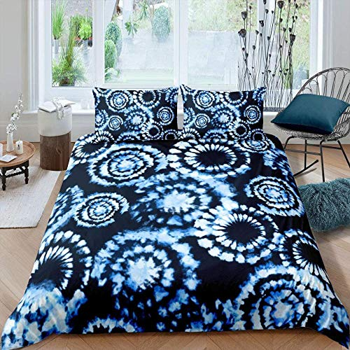 Bcooseso 3D Printed abstract black blue circle geometry Design Duvet Cover Set Bedding Set,Soft Microfiber,2 Pillowcases,Hidden Zipper, King size 220 x 230 cm