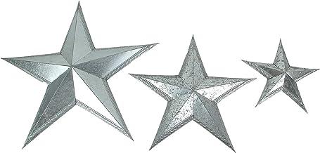 Zeckos 3 Piece Tooled Edge Galvanized Finish Metal Wall Mounted Star Set 12,18, 24 Inch