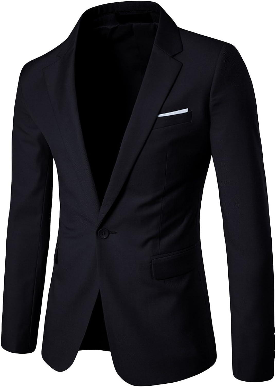 newrong Men's Slim Fit One Button Blazer Jacket