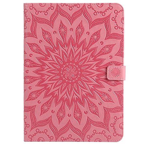 Funda protectora de piel sintética con tarjetero, diseño de flores de sol y diseño conciso de impresión de flores de color rosa