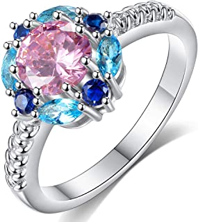 HYLJZ Anello New Flower Created Crystal Ring for Women in Rhodium Plated