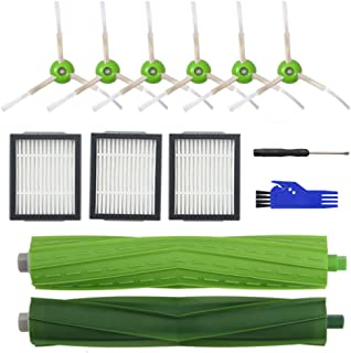Replenishment Accessory Kit for iRobot Roomba i7 i7+/i7 Plus E5 E6 E7 Series Robotic Vacuum,3 High-Efficiency Filters+6 Edge-Sweeping Brushes+1 Multi-Surface Rubber Brushes