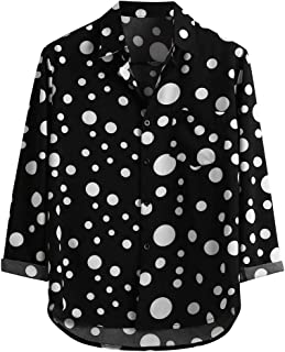 MIS1950s Mens Shirts Casual Long Sleeve Polka Dot Printed Slim Fit Button Lapel Business Tops Blouse