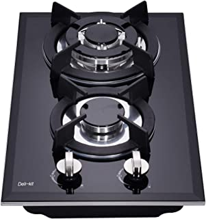 Deli-kit DK123-B01S 12 inch gas cooktop gas hob stovetop 2 Burners LPG/NG Dual Fuel 2 Sealed Burners brass burne rKitchen Slope Edge Tempered Glass Built-in gas Cooktop 110V AC pulse ignition