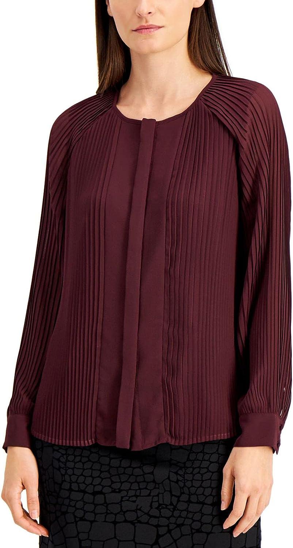 Alfani Womens Long Sleeve Pleated Blouse